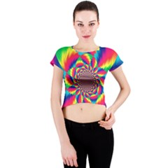 Colorful Psychedelic Art Background Crew Neck Crop Top