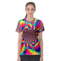 Colorful Psychedelic Art Background Women s Sport Mesh Tee