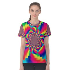 Colorful Psychedelic Art Background Women s Cotton Tee