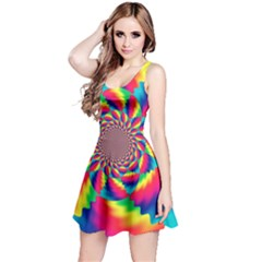 Colorful Psychedelic Art Background Reversible Sleeveless Dress