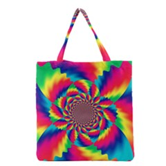 Colorful Psychedelic Art Background Grocery Tote Bag