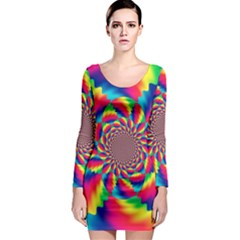 Colorful Psychedelic Art Background Long Sleeve Bodycon Dress