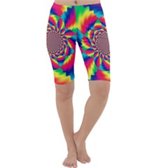 Colorful Psychedelic Art Background Cropped Leggings