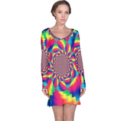Colorful Psychedelic Art Background Long Sleeve Nightdress