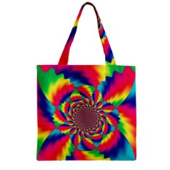 Colorful Psychedelic Art Background Zipper Grocery Tote Bag