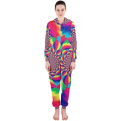 Colorful Psychedelic Art Background Hooded Jumpsuit (ladies)