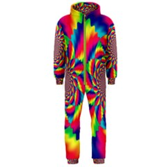 Colorful Psychedelic Art Background Hooded Jumpsuit (men)