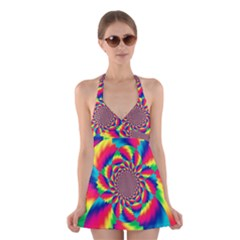Colorful Psychedelic Art Background Halter Swimsuit Dress