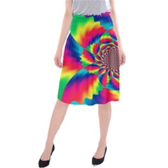 Colorful Psychedelic Art Background Midi Beach Skirt