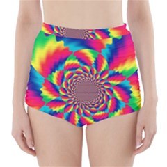 Colorful Psychedelic Art Background High-Waisted Bikini Bottoms