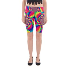 Colorful Psychedelic Art Background Yoga Cropped Leggings