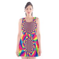 Colorful Psychedelic Art Background Scoop Neck Skater Dress