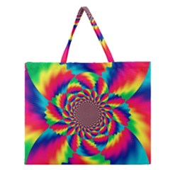 Colorful Psychedelic Art Background Zipper Large Tote Bag