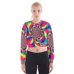 Colorful Psychedelic Art Background Women s Cropped Sweatshirt