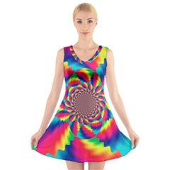 Colorful Psychedelic Art Background V Neck Sleeveless Skater Dress