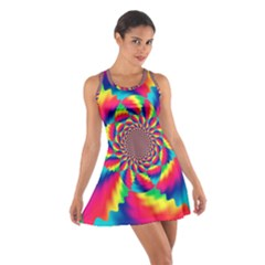 Colorful Psychedelic Art Background Cotton Racerback Dress