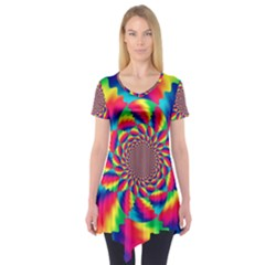 Colorful Psychedelic Art Background Short Sleeve Tunic