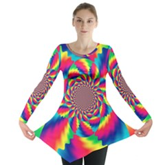 Colorful Psychedelic Art Background Long Sleeve Tunic