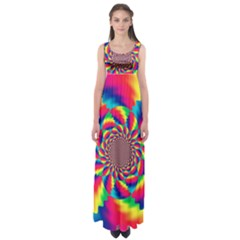 Colorful Psychedelic Art Background Empire Waist Maxi Dress