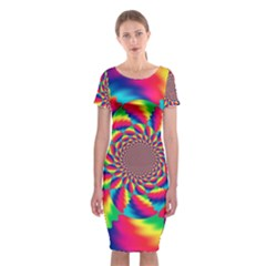 Colorful Psychedelic Art Background Classic Short Sleeve Midi Dress