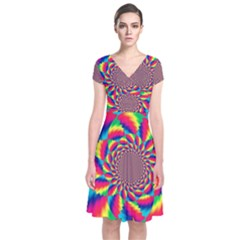Colorful Psychedelic Art Background Short Sleeve Front Wrap Dress