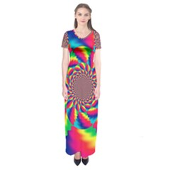 Colorful Psychedelic Art Background Short Sleeve Maxi Dress