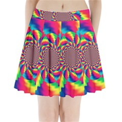 Colorful Psychedelic Art Background Pleated Mini Skirt