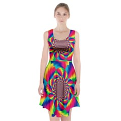 Colorful Psychedelic Art Background Racerback Midi Dress