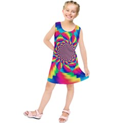 Colorful Psychedelic Art Background Kids  Tunic Dress