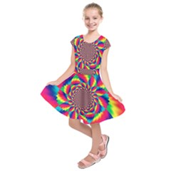 Colorful Psychedelic Art Background Kids  Short Sleeve Dress