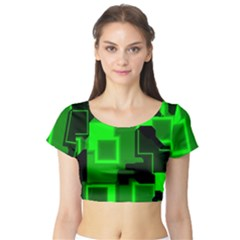 Cyber Glow Short Sleeve Crop Top (tight Fit)