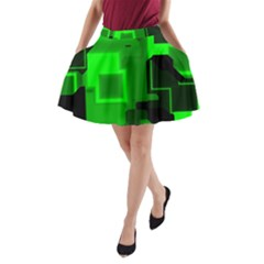 Cyber Glow A-Line Pocket Skirt