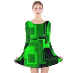 Cyber Glow Long Sleeve Velvet Skater Dress
