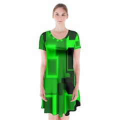 Cyber Glow Short Sleeve V Neck Flare Dress