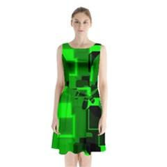 Cyber Glow Sleeveless Chiffon Waist Tie Dress
