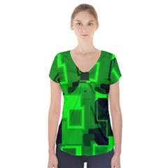 Cyber Glow Short Sleeve Front Detail Top