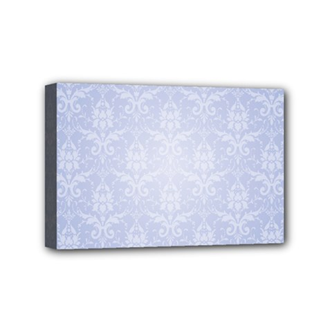 Damask Pattern Wallpaper Blue Mini Canvas 6  X 4