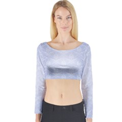 Damask Pattern Wallpaper Blue Long Sleeve Crop Top