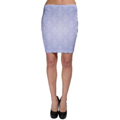 Damask Pattern Wallpaper Blue Bodycon Skirt