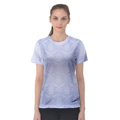 Damask Pattern Wallpaper Blue Women s Sport Mesh Tee