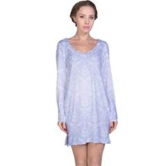 Damask Pattern Wallpaper Blue Long Sleeve Nightdress
