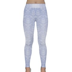 Damask Pattern Wallpaper Blue Classic Yoga Leggings