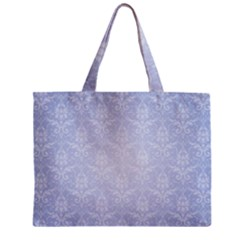 Damask Pattern Wallpaper Blue Zipper Mini Tote Bag