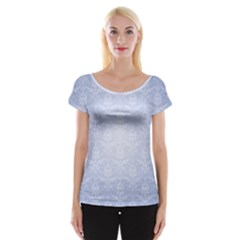 Damask Pattern Wallpaper Blue Women s Cap Sleeve Top