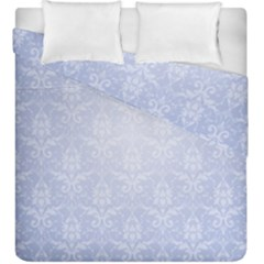 Damask Pattern Wallpaper Blue Duvet Cover Double Side (king Size)