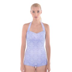 Damask Pattern Wallpaper Blue Boyleg Halter Swimsuit