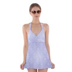Damask Pattern Wallpaper Blue Halter Swimsuit Dress
