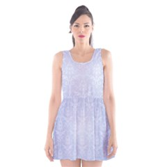 Damask Pattern Wallpaper Blue Scoop Neck Skater Dress