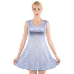 Damask Pattern Wallpaper Blue V-Neck Sleeveless Skater Dress