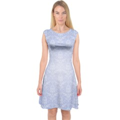 Damask Pattern Wallpaper Blue Capsleeve Midi Dress
